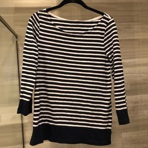Jcrew navy and white stripe top
